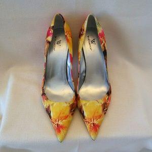 "Worthington floral fabric heel 3"" Size 10"